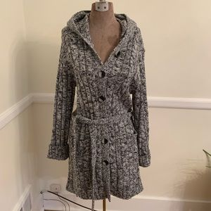 Black and white marled hooded cardigan Size L